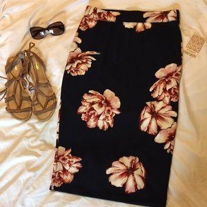 Iris Basic Navy Floral Pencil Skirt NWT  🌺